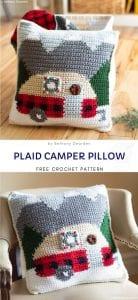 Plaid Camper Pillow Free Crochet Pattern
