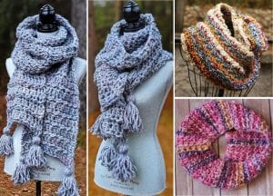 Easy bean stitch crochet cowl free pattern featured