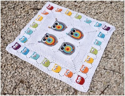 BIGGIE RAINBOW OWL GRANNY SQUARE free crochet pattern