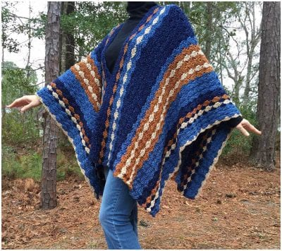"beautiful ""Blue Jean Baby"" crochet Poncho for the spring and autumn"