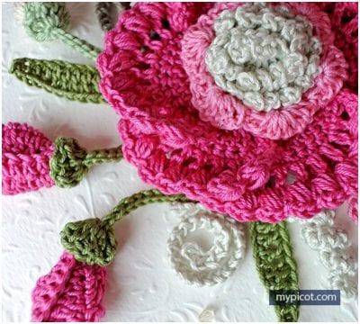 free crochet pattern flower aplique