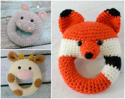 HIPPO COW FOX RATTLE COLLECTION Crochet free pattern
