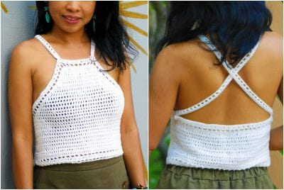 Spring and Summer Crocheted Easy Halter Top for Beginners Free Pattern