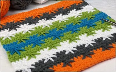 The Spike Cluster Stitch in Easy Crocheted Dishcloth Free Pattern