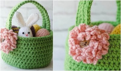 Cute Easter Bunny Crochet Basket with free pattern