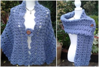 lacy easy crochet shawl for beginners with free pattern