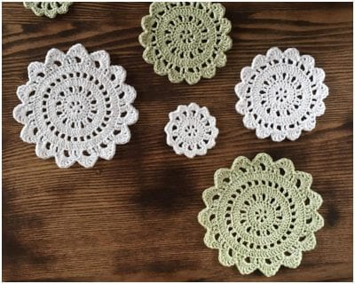 Awesome Citrus Blossom Crocheted Coasters or Doilies to make into a house a home Free Pattern made with a beautiful texture design.