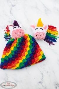 C2C Rainbow Hat with Unicorn Pom Pom Free Crochet Pattern