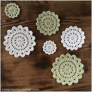 Easy and Beginners Friendly Crocheted Coasters Free Pattern made with a cute texture and floral motif.