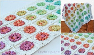 Amazing Crocheted Flower Baby Blanket with Free Pattern