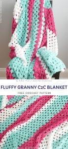 Fluffy granny C2C blanket free crochet pattern